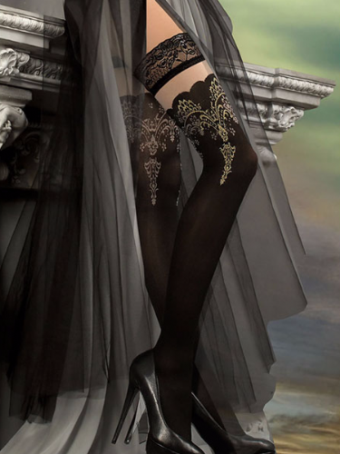 Ballerina Embroidered Opaque Hold Ups